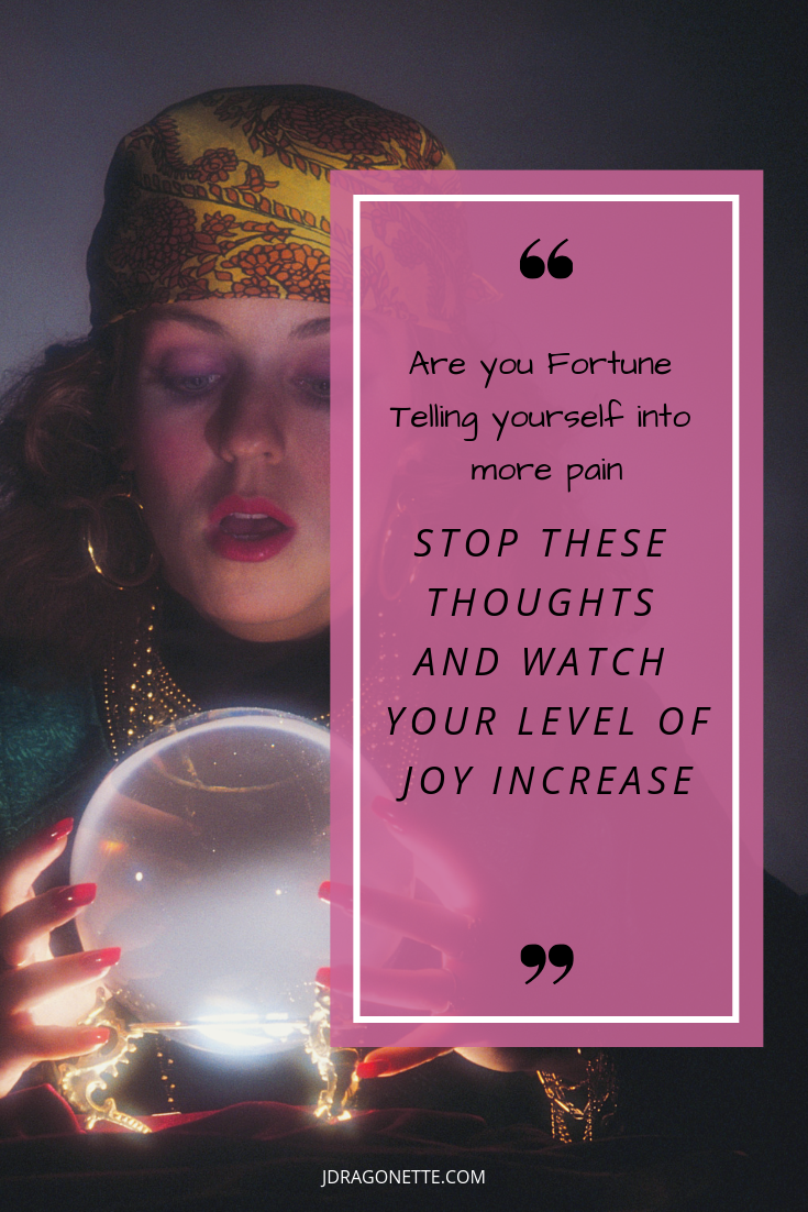 Woman using positive thinking to overcome her chronic pain, she discovered that when she gave up the fortune telling thoughts. She started living well with chronic pain